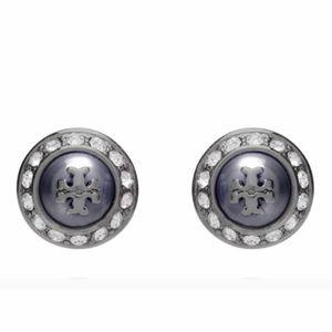 🆕 Tory Burch Natalie Stud Earrings Gunmetal